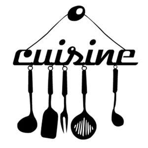 Sticker Décoration Texte Cuisine et ses Ustensiles (20x19 cm à 30x28 cm)