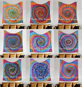 Indian-Tie-Dye-Tapestry-Spiral-Mandala-Wall-Hanging-Hippie-Boho-Beach-Throw-Art