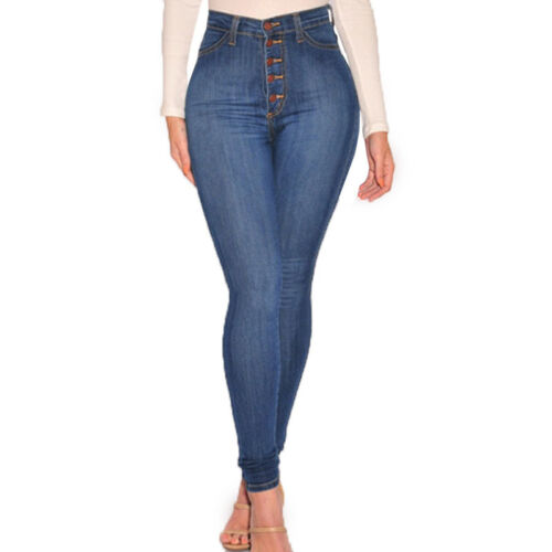 Ladies Skinny High Waisted Pants Stretchy Slim Fit Jeans Pencil Denim Trousers