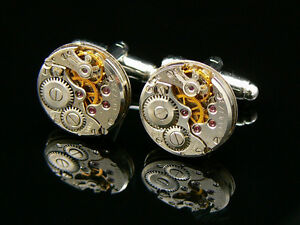 LUXURY-QUALITY-WATCH-MOVEMENT-STEAMPUNK-VINTAGE-CUFFLINKS-UNUSUAL-MEN-039-S-GIFT