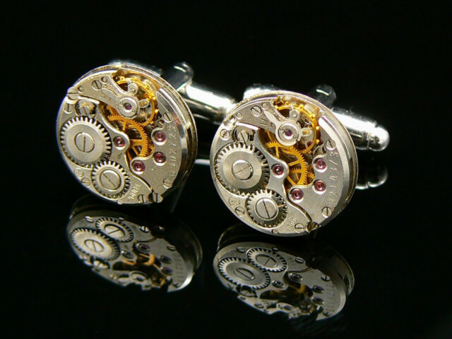 MENS GIFT LUXURY QUALITY WATCH MOVEMENT STEAMPUNK VINTAGE CUFFLINKS UNUSUAL