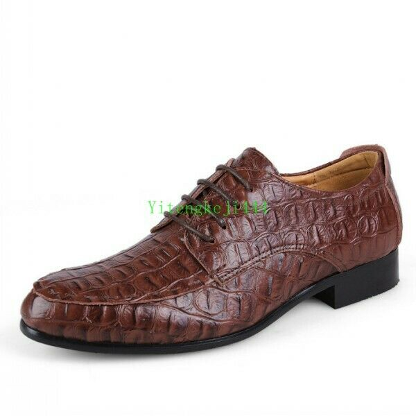 New Mens Alligator Real Leather Lace Up Dress Formal Casual shoes Business Plus