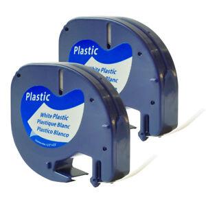 "5PK 91331//91201 S0721510 Compatible DYMO LetraTag White Plastic Label Tape 1//2/"""