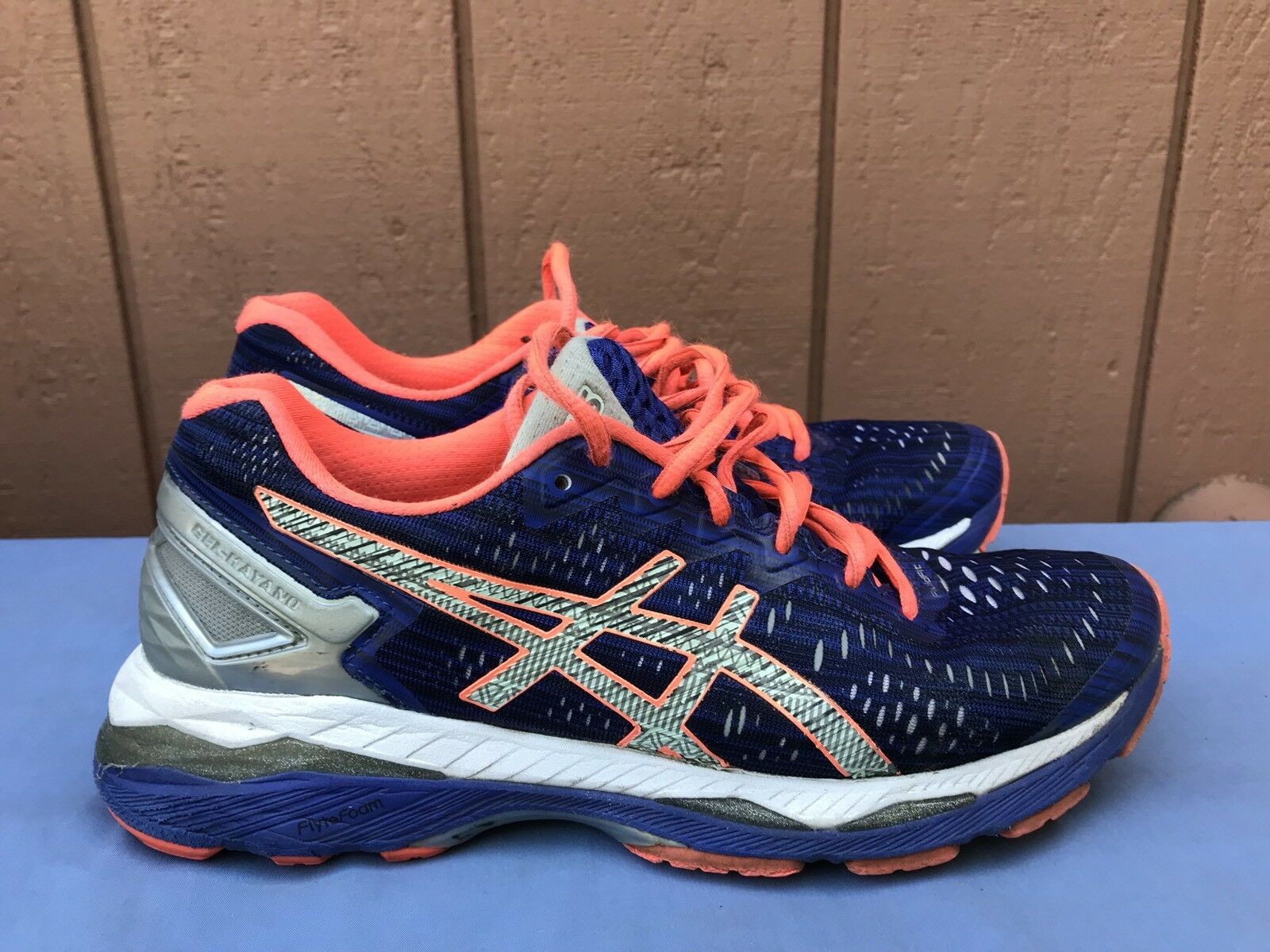 Asics Women's US 8 Gel-Kayano 23 Shoes T6A6N 4593 Blue/Silver/Flash Coral A5