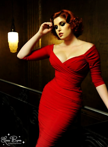 Laura Byrnes Womens Pinup Style Fashionable Red Dress