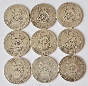 9-George-V-Shilling-1911-1919-date-Run-y-compris-1913-British-pieces-en-argent