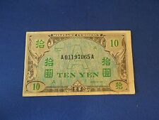 """Vintage 1946 10 """"A"""" Yen Note United States Military Currency Used in Japan Korea"""