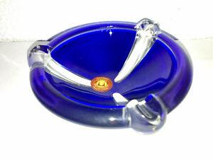 Glas-Aschenbecher-Zigarettenascher-WALTHER-DESIGN-Blau-60s-70s-Space-H-LOOK