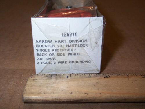 NEW ARROW-HART IG6210 HART-LOCK  2P 3-WIRE 20A 250V SINGLE RECEPT NEMA L6-20R