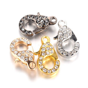 10PCS-Alloy-Paved-Rhinestone-Lobster-Claw-Clasps-Sparkling-Trigger-Closure-21mm