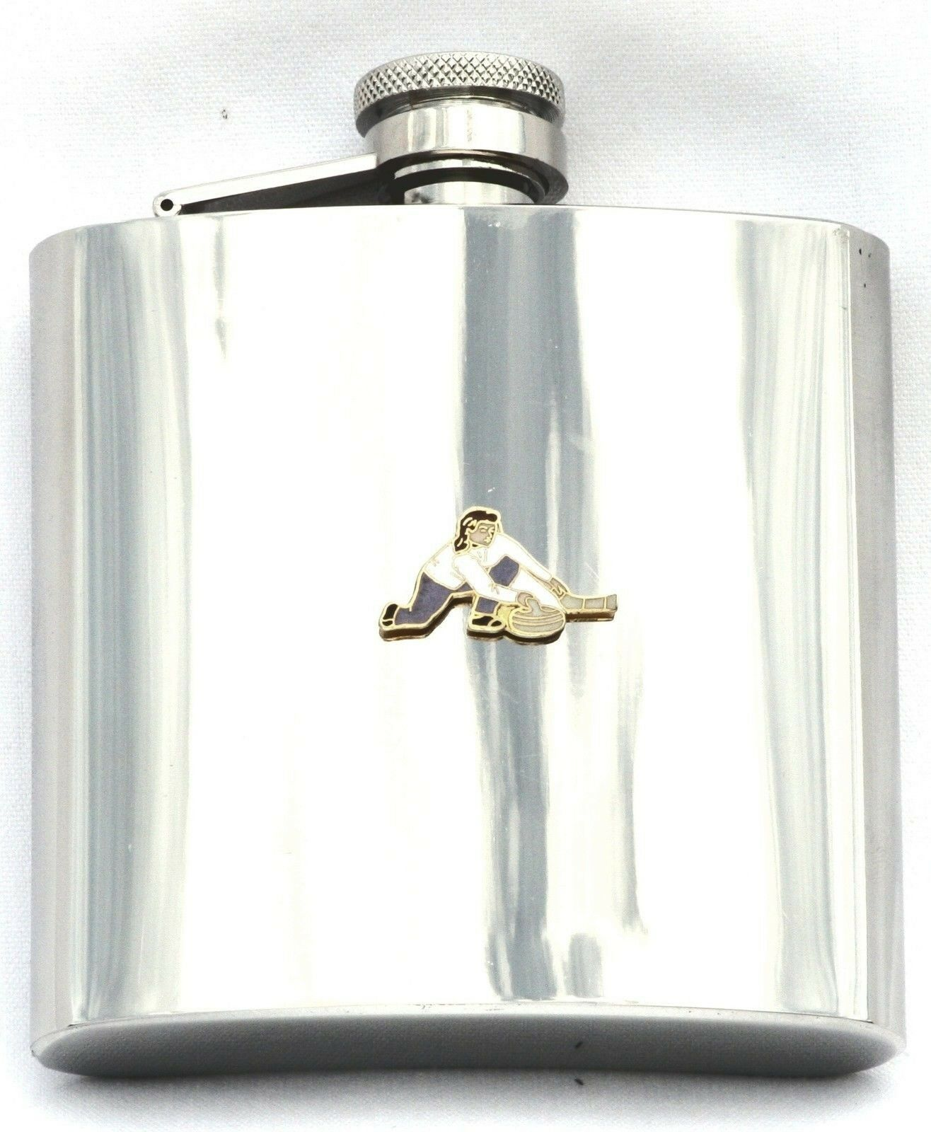Female Curler Stainless Steel Hip Flask Curling Gift Award Free Engraving