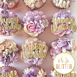 Happy Birthday cupcake toppers glitter cake any colour PACK OF 6 ideas decor mum