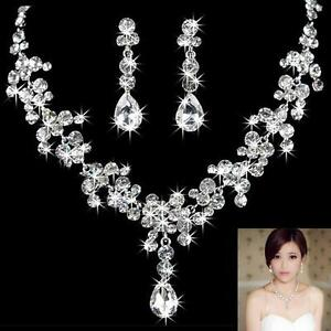 Crystal-Diamante-Wedding-Bride-Bridal-Necklace-Earrings-Jewellery-Set-Prom-Party