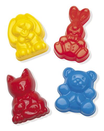 DANTOY SET 4 PLAY CUTE ANIMAL PLASTIC SAND MOULDS SHAPES rabbit teddy cat dog