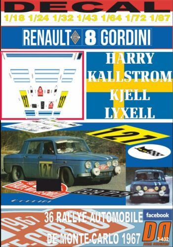 01 DECAL RENAULT 8 GORDINI H.KALLSTROM R.MONTECARLO 1967 24th