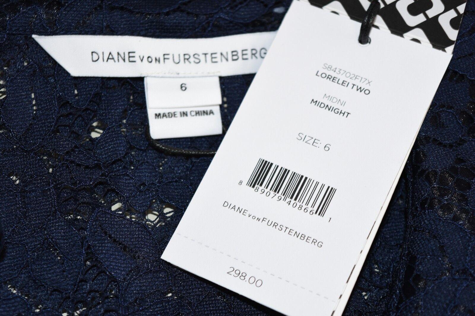 Nuovo Diane Von Furstenberg Dvf Dvf Dvf Lorelei Due Camicetta in Pizzo Ricamo Navy 2 4 6 d6eaa9