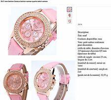 BIJOUX : B311 MONTRE FEMME - à QUARTZ ROSE Bracelet CUIR (SUPERBE)