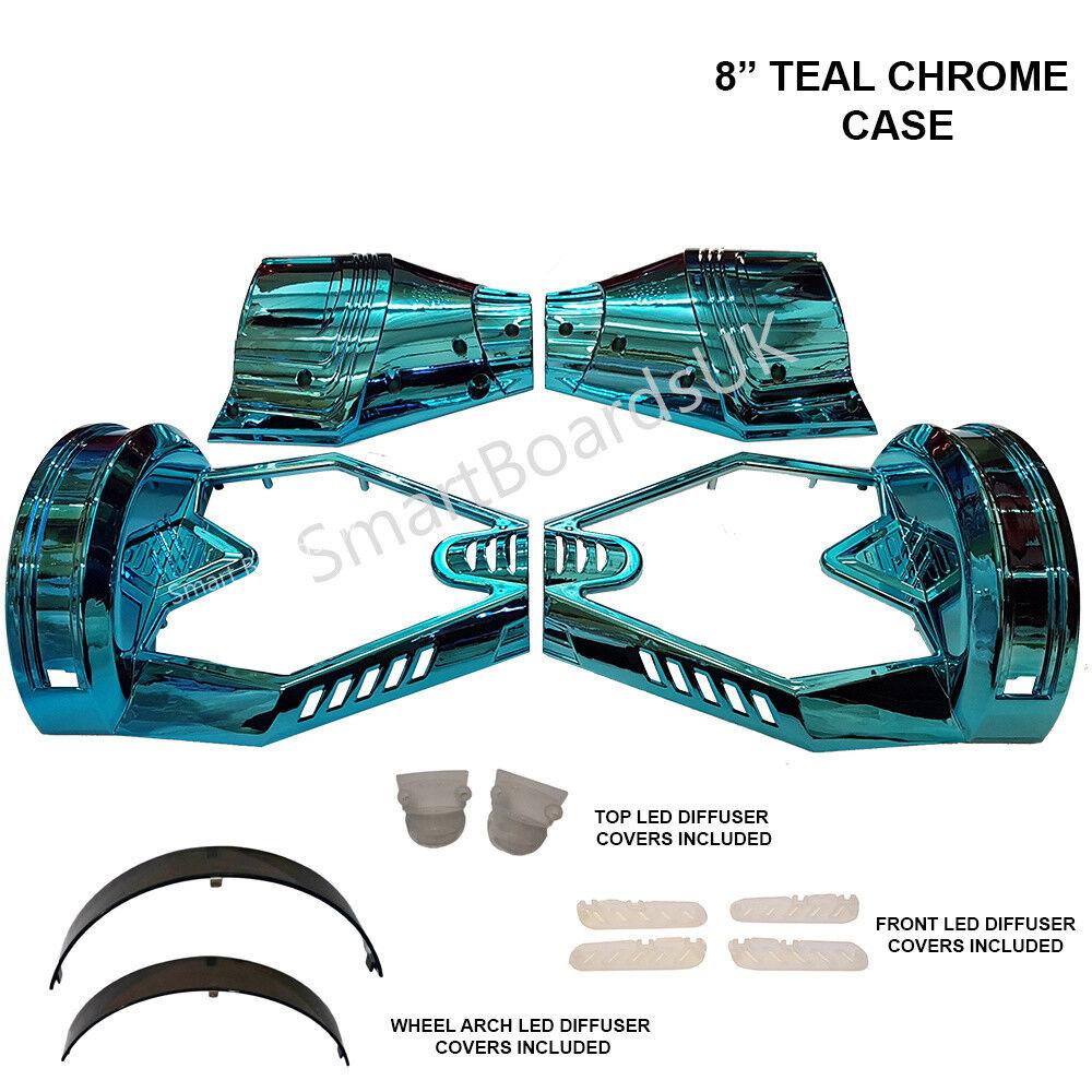 TEAL CHROME 8  for Hoverboard Parts Plastic Shell - Sweg Case 8 Inch Frame UK