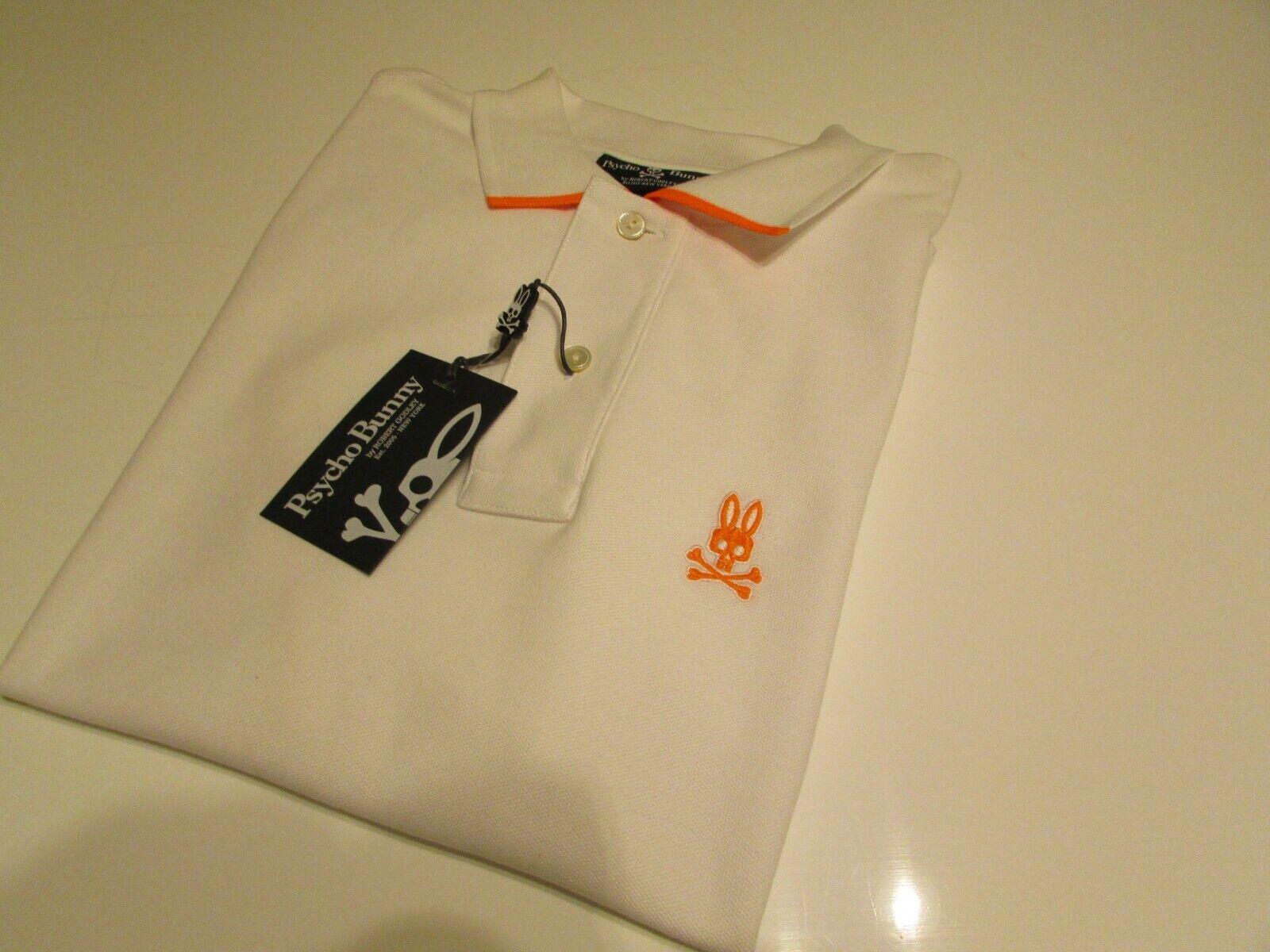 Psycho Bunny Short Sleeve White Neon Tipping Logo Pima Cotton HB Polo Shirt