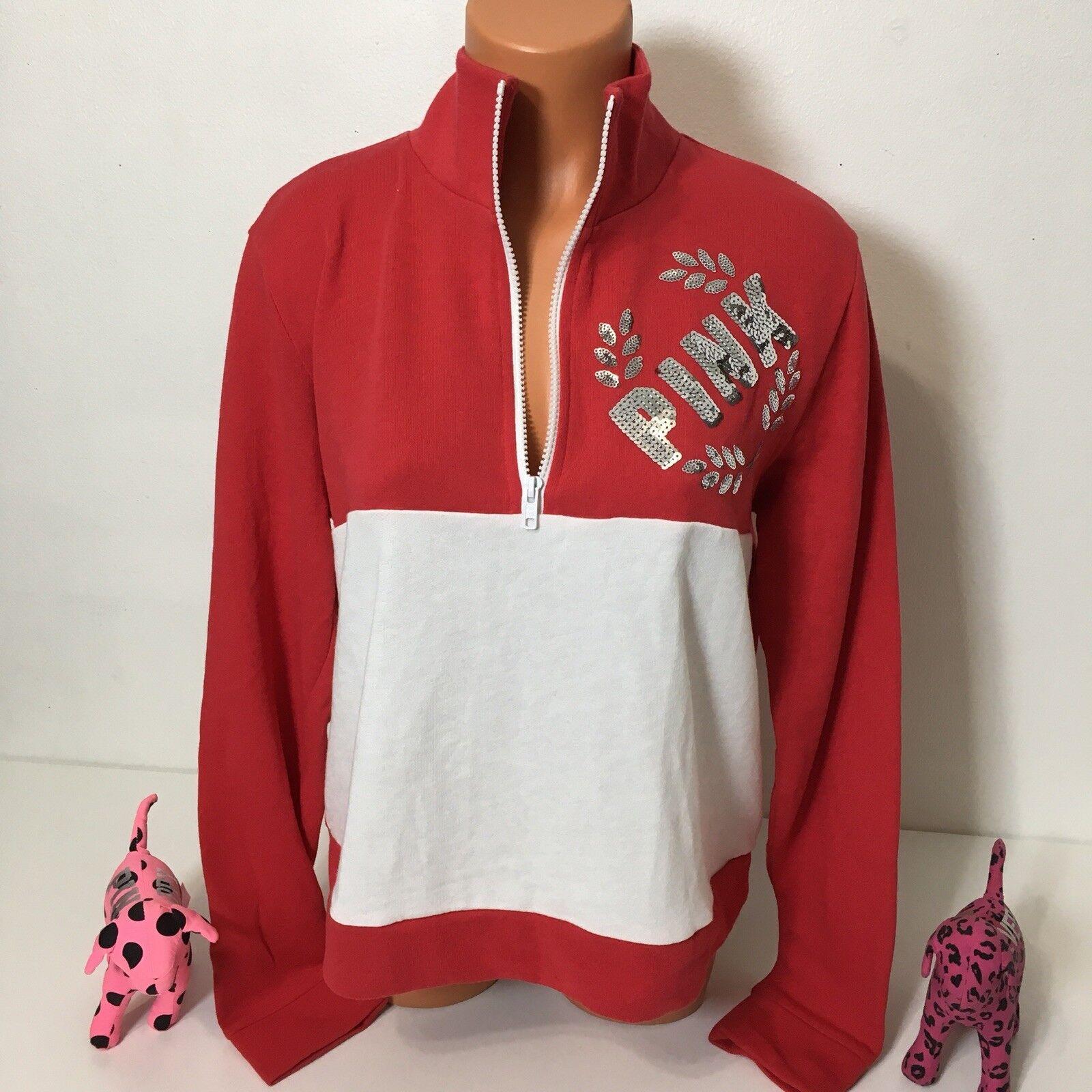 Rosa Victorias Secret Bling Logo Half Zip Sweatshirt Größe M Farbe rot Weiß