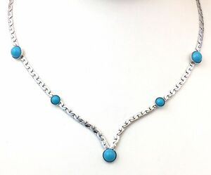 VINTAGE-NECKLACE-FAUX-TURQUOISE-CABS-SILVER-TONE-METAL-CHAIN-SARAH-COVENTRY