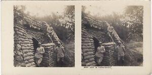 Grande Guerre Abri WW1 Foto Stereo Vintage Analogica