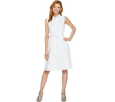 Isaac Mizrahi Women\'s Eyelet Shirt Dress with Removable Belt ...