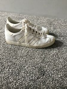 Details about Ladies Girls adidas gazelle white leather Trainers