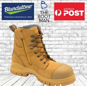 Blundstone-992-Steel-Toe-Cap-Safety-Mens-Zip-Side-Work-Boots-Wheat-150mm