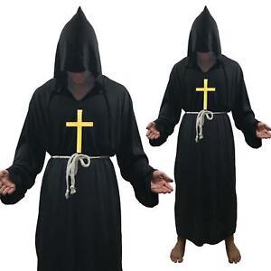 FRATE Monk Costume Medievale Costume Vicario Con Cappuccio Accappatoio Accappatoio RELIGIOSO SANTO