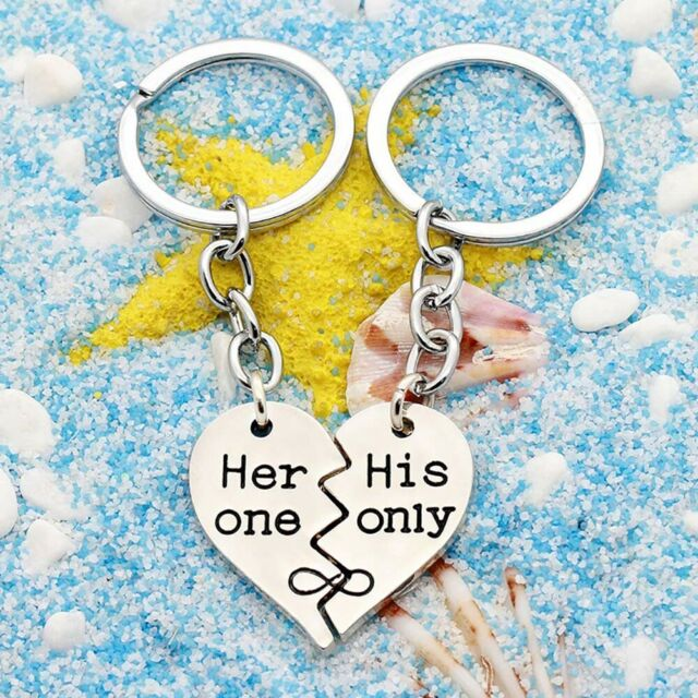 Cool Valentine/'s Day Lover Gift Heart Key Couple Keychain Keyring Keyfob 1Pair C