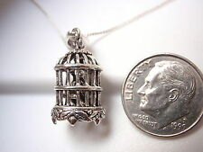 Bird in a Cage Necklace 925 Sterling Silver Corona Sun Jewelry