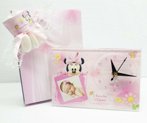 Bomboniera battesimo baby minnie OROLOGIO con foto personalizzato