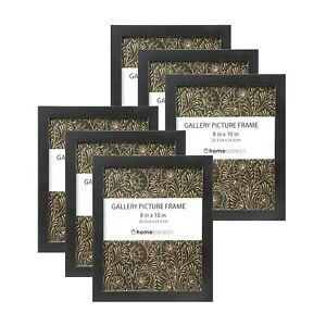 """6-Piece Picture Frame Set for 8""""x10"""" Photos, Easel Back & Wall Mount Black"""
