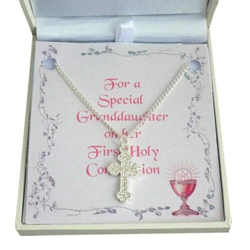 Niece Girls Necklace with Cross Pendant First Communion Day Gift for Daughter