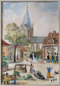 Tableau-Art-Naif-Mariage-au-Village-Mont-Liron-Peinture-sign-Jean-Fous-1901-1971