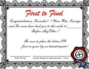 Practical-Geocaching-4-pcs-FTF-Certificate-GX-Logo-FREE-FREIGHT