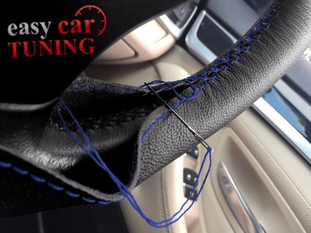 FOR CITROEN BERLINGO II 08+ BLACK REAL GENUINE LEATHER STEERING WHEEL COVER BLUE