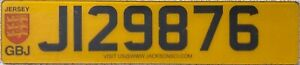 Jersey UK Channel Island GBJ Crest Graphic License Licence Number Plate J 129876