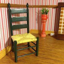 1/12 Casa De Muñecas Hermosa Verde Rush Country Cottage Silla De Estilo La