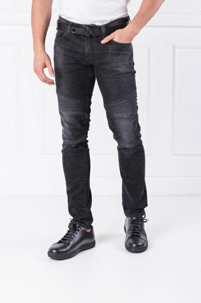 Armani Exchange A|X Skinny Biker Motorcycle Jeans 34 x 32 Black Denim NWT $130