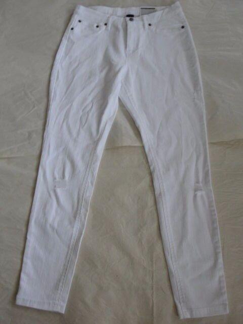 e11212d6dcd266 NWT $54 Hue Women Ripped Denim Skimmer Leggings White Sz S U16119 ...
