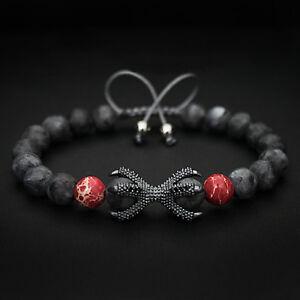 Image Is Loading Charm Grey Jasper Rhodium Plated Dragon Claw Bracelet