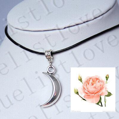 Neu! Mond Halbmond -Charme-Anhänger -Halskette mit schwarz echtes Leder-Schnur