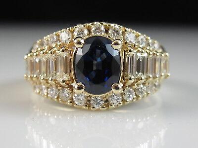 14K Sapphire Diamond Ring Yellow Gold Fine Jewelry Designer Kasper & Esh Size 8