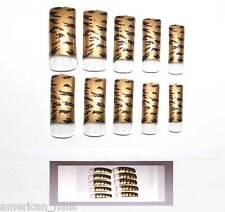 30 capsules pre décorées faux ongles pour French Tigre Or et Noir Nail Art