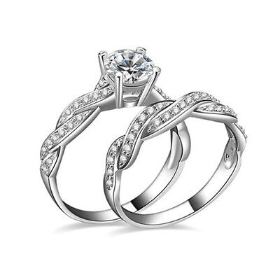 Women Gemstone CZ White Gold Filled Engagement Ring Set Size 6-9 Rings Jewelry