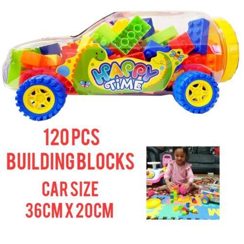 LARGE 120PCS EDUCATIONAL BUILDING BLOCKS GAME KIDS PLASTIC BRICKS BLOCKS IN CAR