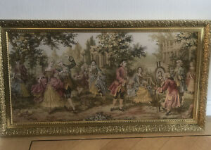 VINTAGE-BEAUTIFUL-VICTORIAN-TAPESTRY-GOLD-FRAME