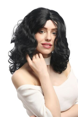 Wig Ladies Carnival Long Volume Curls Curly Centre Parting Black